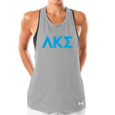 Ladies Under Armour Grey Pinhole Tank-Greek Letters