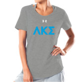 Ladies Under Armour Grey Charged Cotton Tee-Greek Letters