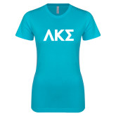 Next Level Ladies SoftStyle Junior Fitted Ice Blue Tee-Greek Letters