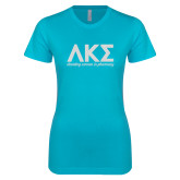 Next Level Ladies SoftStyle Junior Fitted Ice Blue Tee-C White Soft Glitter