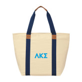 Natural/Navy Saratoga Tote-Greek Letters