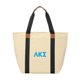 Natural/Black Saratoga Tote-Greek Letters