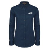 Ladies Navy Twill Button Down Long Sleeve-Greek Letters