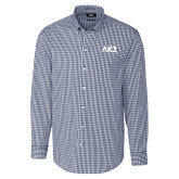 Cutter & Buck Navy Stretch Gingham Long Sleeve Shirt-Greek Letters