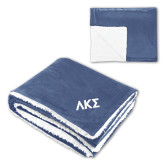 Super Soft Luxurious Blue Sherpa Throw Blanket-Greek Letters