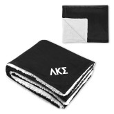 Super Soft Luxurious Black Sherpa Throw Blanket-Greek Letters