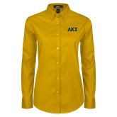 Ladies Gold Twill Button Down Long Sleeve-Greek Letters