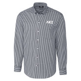 Cutter & Buck Charcoal Stretch Gingham Long Sleeve Shirt-Greek Letters