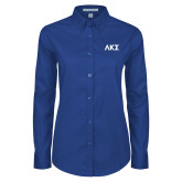 Ladies Royal Twill Button Down Long Sleeve-Greek Letters