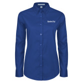 Ladies Royal Twill Button Down Long Sleeve-Educational Trust Word Mark