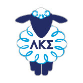 Small Magnet-Lamb w Greek Letters, 5 inches wide