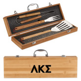 Grill Master 3pc Bamboo BBQ Set-Greek Letters Engraved