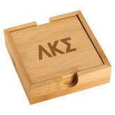 Bamboo Coaster Set-Greek Letters Engraved