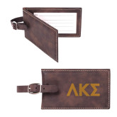 Sorano Brown Luggage Tag-Greek Letters Engraved