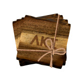 Acacia Wood Coaster Set-Greek Letters Engraved