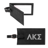Sorano Black Luggage Tag-Greek Letters Engraved