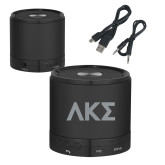 Wireless HD Bluetooth Black Round Speaker-Greek Letters Engraved