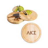7.5 Inch Brie Circular Cutting Board Set-Greek Letters Engraved
