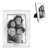Satin Silver Metal Textured 4 x 6 Photo Frame-Greek Letters Engraved