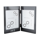 Black Nickel Double Photo Frame-Greek Letters Engraved