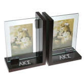 Glass Frame Bookends-Greek Letters Engraved