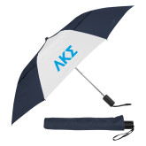 42 Inch Slim Stick Navy/White Vented Umbrella-Greek Letters