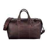 Kenneth Cole Columbian Leather Mahogany Weekender Duffel-Interlocking LB Deboss