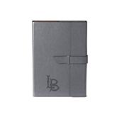 Fabrizio Junior Grey Portfolio w/Loop Closure-Interlocking LB Engraved