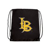 Black Drawstring Backpack-Interlocking LB