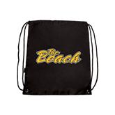 Black Drawstring Backpack-The Beach