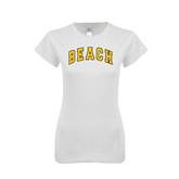 Next Level Ladies SoftStyle Junior Fitted White Tee-Arched Beach