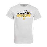 White T Shirt-Soccer Swoosh Design