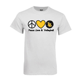 White T Shirt-Peace, Love and Volleyball Design