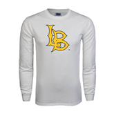 White Long Sleeve T Shirt-Interlocking LB