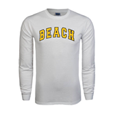 White Long Sleeve T Shirt-Arched Beach