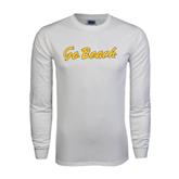 White Long Sleeve T Shirt-Go Beach