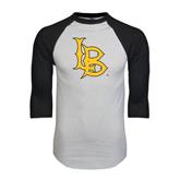 White/Black Raglan Baseball T-Shirt-Interlocking LB