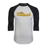 White/Black Raglan Baseball T-Shirt-The Beach