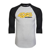 White/Black Raglan Baseball T-Shirt-49ers Long Beach