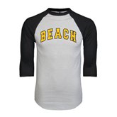 White/Black Raglan Baseball T-Shirt-Arched Beach