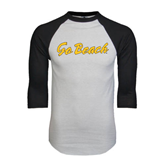 White/Black Raglan Baseball T-Shirt-Go Beach