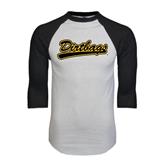 White/Black Raglan Baseball T-Shirt-Dirtbags