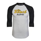 White/Black Raglan Baseball T-Shirt-Alumni