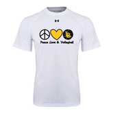 Under Armour White Tech Tee-Peace, Love and Volleyball Design