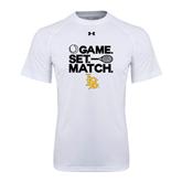 Under Armour White Tech Tee-Game. Set. Match. Tennis Design