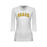 Ladies White 3/4 Sleeve Scoop Neck-Arched Beach