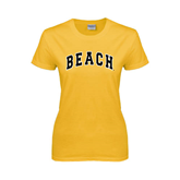 Ladies Gold T Shirt-Arched Beach