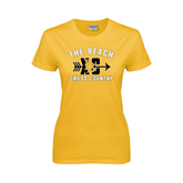 Ladies Gold T Shirt-Cross Country Design
