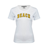 Ladies White Stretch Scoop Neck-Arched Beach