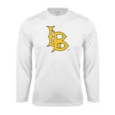 Performance White Longsleeve Shirt-Interlocking LB